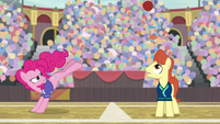 Pinkie kicks buckball over stallion S9E6