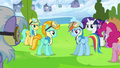 Rainbow Dash and Lightning Dust surrounded S3E7.png