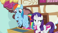 Rainbow pauses; Rarity rolls her eyes S8E18