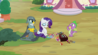 Rarity takes calming breath; Spike eats ice cream S9E19