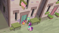 Scootaloo and Sugar Belle arrive at the bakery S7E8.png