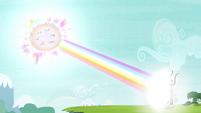 The Mane 6 shooting rainbow beam at Tirek S4E26