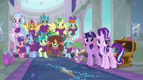 Twilight, friends, and students watch Rarity and Dash leave S8E17