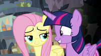 Twilight Sparkle grinning excitedly at Fluttershy S7E20