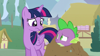 Twilight and Spike look at each other confused S5E22