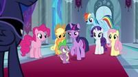 Twilight steps forward next to Spike S9E1