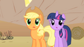 Applejack and Twilight staring at the horse-drawn horse-drawn carriages S1E21.png