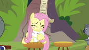 Fluttershy and Angel hugging and blushing S9E18