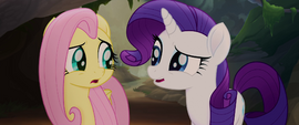 Fluttershy and Rarity look at each other confused MLPTM