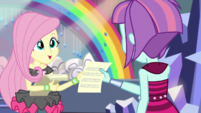 Fluttershy gives Sunny Flare a lyrics sheet EGS1