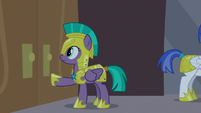 Guard Chrysalis notices the doors are stuck S9E17