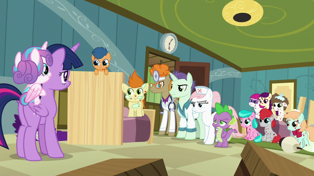 File:Spike, foals, and doctors look at Twilight and Flurry S7E3.png