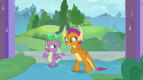 Spike and Smolder appear drenched in water S8E21