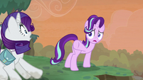 Starlight Glimmer gestures for Rarity to stop S8E13