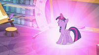 Twilight Sparkle giving off a bright glow S8E2