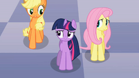Applejack, Twilight and Fluttershy discussing Discord's riddle S2E1