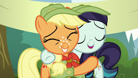 Applejack and Rara hugging S5E24