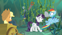 Fake Rarity shrieking at Rainbow Dash S8E13