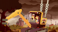 Flim and Flam grabs a tree with a crane S5E26