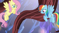 Fluttershy and Rainbow watch Pinkie fall S5E19.png