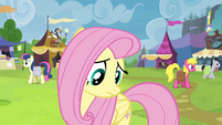 Fluttershy looks down at Rainbow Dash S4E22