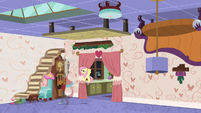 Fluttershy nails Discord's furniture to ceiling S7E12