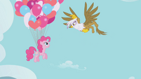 Gilda about to pop Pinkie Pie's balloons S1E05