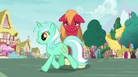 Lyra Heartstrings trotting past Big Mac S8E10