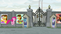 Pinkie hopping toward the factory gates S9E14