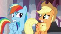 Rainbow Dash and Applejack very nervous S8E9