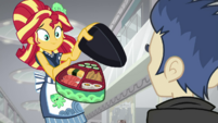 Sunset Shimmer offers sushi to Flash Sentry SS16