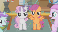 Sweetie Belle and Scootaloo standing up for Apple Bloom S01E12