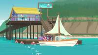 Twilight's sailboat returns to the docks EGDS18