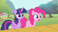 Twilight and Pinkie Pie surprised S4E14