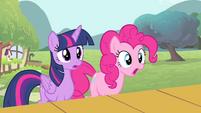 Twilight and Pinkie Pie surprised S4E14