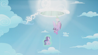 Twilight and Spike pulled up into the portal S5E25