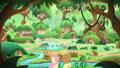 AJ and Fluttershy arrive in the Kirin village S8E23.png