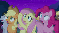 Applejack, Fluttershy, and Pinkie in shock S6E6.png