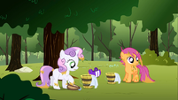 Buckets of water being slid over to Scootaloo and Sweetie Belle S1E23