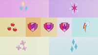 Collage shot of Mane Six and CMC's cutie marks S5E18
