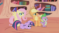 Fluttershy, Applejack, and Spike angry S01E03.png
