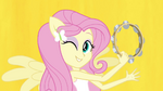 Fluttershy on yellow Better Than Ever backdrop EG2