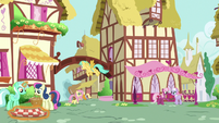 Fluttershy walking into Ponyville S9E18