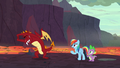 Garble stretching for his race with Rainbow S7E25.png