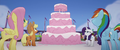 Main four looking at giant five-layer cake MLPTM.png