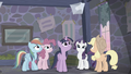 Main ponies hear Starlight's voice from loudspeaker S5E02.png