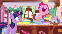 Pinkie Pie laughing at Twilight Sparkle S7E23