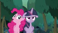 Pinkie Pie walking with fake Twilight S8E13