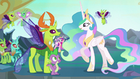 Princess Celestia approaches Thorax S6E26