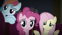 RD, Pinkie, and Fluttershy unamused by Snails S9E6
